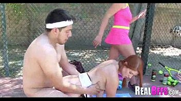 school ladies tennis match turns to.