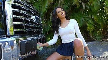 Big ass Latina bangs beside car outdoor